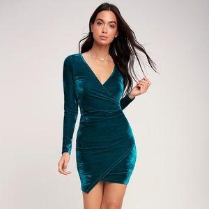 Teal Velvet Long Sleeve Ruched Bodycon Dress